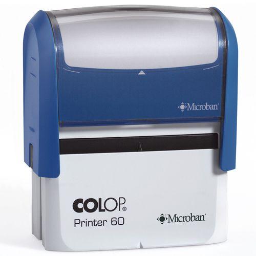 Colop Printer 60 Microban. Ideale stempel met Microban anti bacteriële werking. Handig voor o.a. de gezondheidszorg, overheidsinstellingen, scholen en bedrijven. Afdrukformaat: 76 x 37 mm.