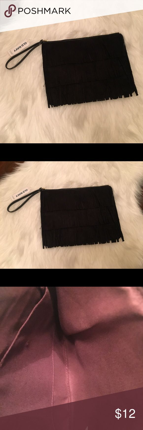 Old Navy Fringe Clutch/Wrislet 🎉SALE TODAY ONLY🎉Super cute! Black brand new with tags! Old Navy Bags Clutches & Wristlets