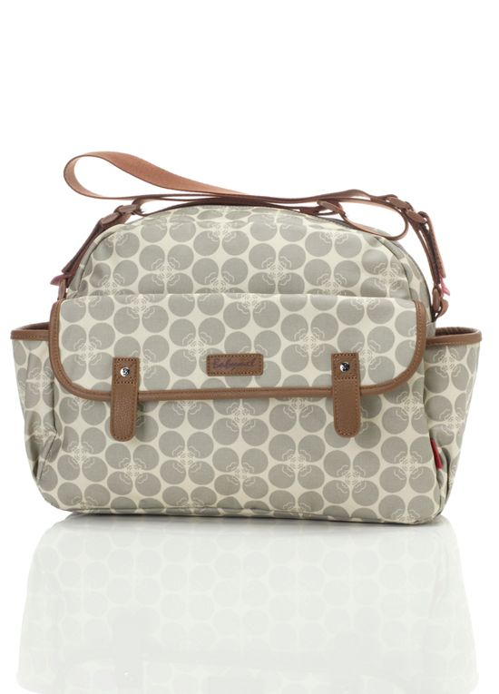 Queen Bee Molly Baby Nappy Bag in Grey Floral Dot by Babymel