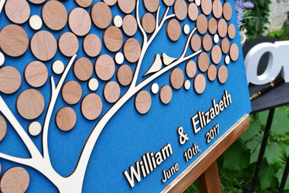 Custom Wedding Guest Book Alternative Tree 3D Wood bubbles