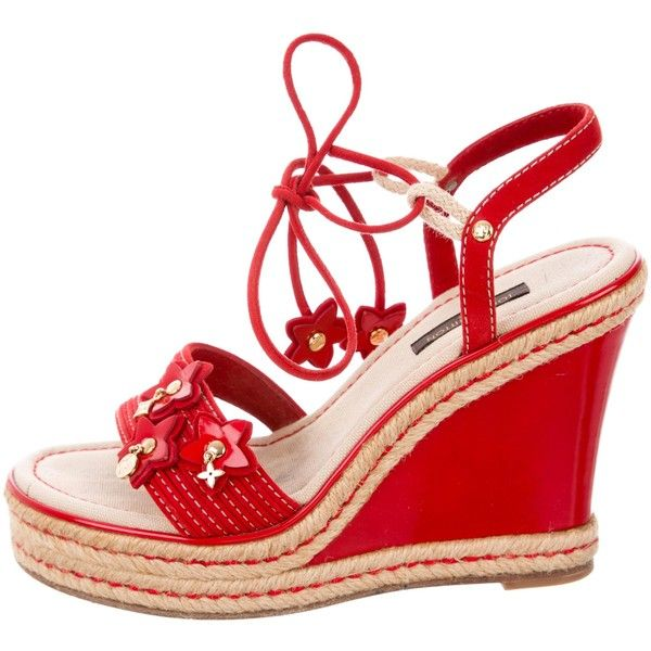 Pre-owned Louis Vuitton Fleur Platform Wedges (1,055 PEN) ❤ liked on Polyvore featuring shoes, red, leather espadrilles, wedge heel shoes, espadrille wedge shoes, red wedge shoes and red platform shoes