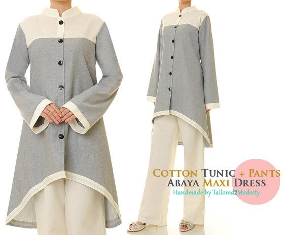 Grey Long Sleeves Cotton Hi-Low Tunic Blouse by Tailored2Modesty