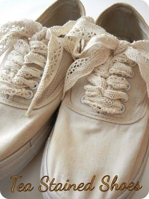Tea stained shoes with shoe 'laces' - what a cute idea!