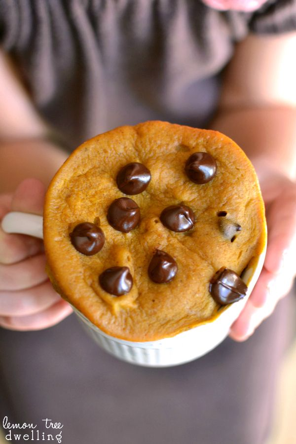Pumpkin Chocolate Chip Mug Cake - ready in just 3 minutes! #mugcake #recipe #orsoshesays