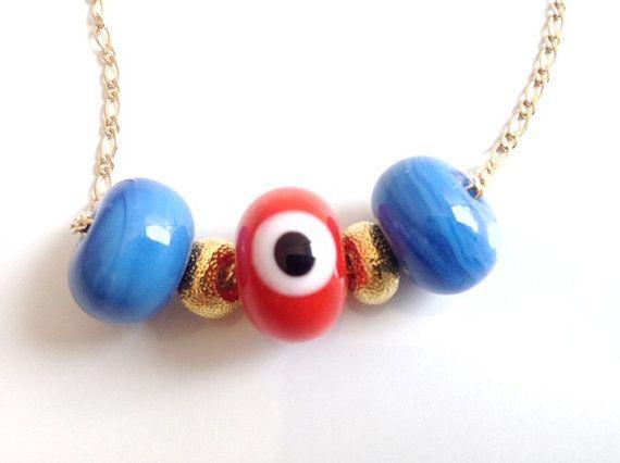 Gold handmade lampwork Evil Eye beads red gold plated chain evil eye jewelry kabbalah jewelry #Jewish Evil eye Necklace necklace, mal de ojo #christmasgift #unique #originalgifts #christmastime #giftforher #handmadejewelry #etsy #fashionbloggers