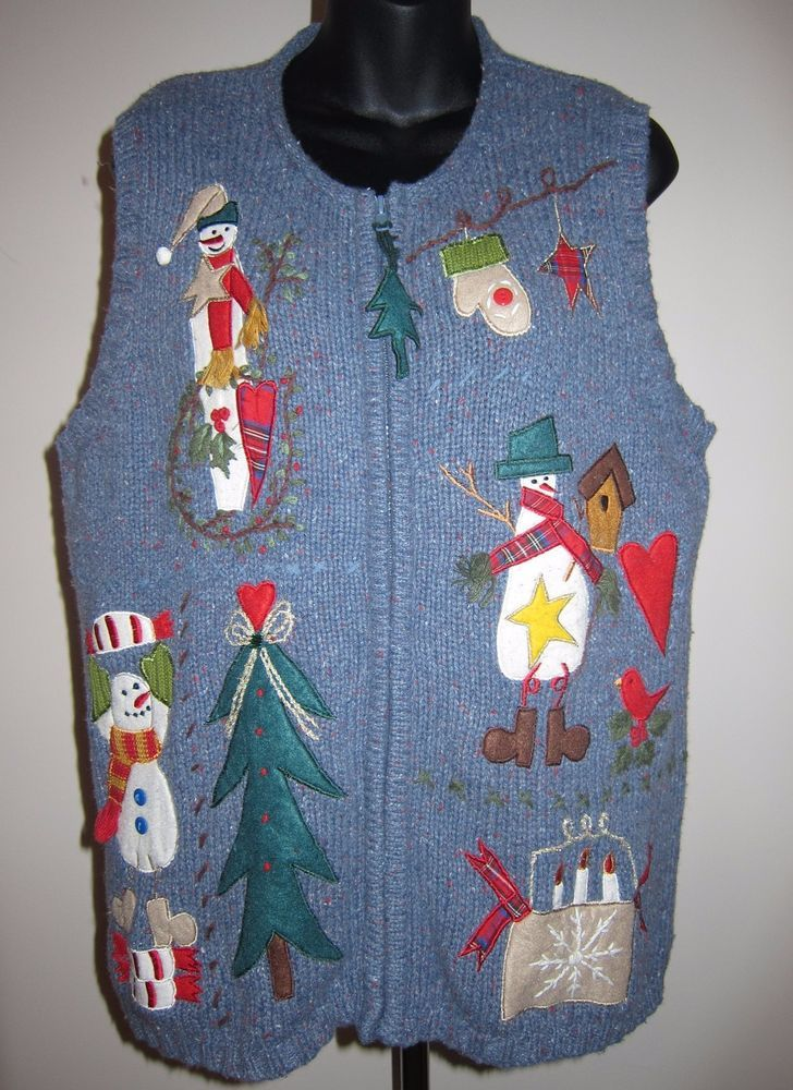 Sz L Theme Works Zip Front Blue Not So Ugly Christmas Sweater Vest Appliqued #ThemeWorks #NotSo #UglyChristmasSweater #Vest #Snowman #ChristmasTree #Hearts #Mittens #Boots #Scarves #Candles #Stars