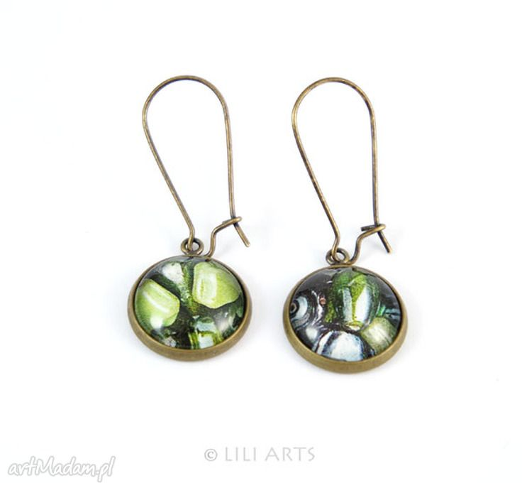 Kolczyki zielone oliwka bigle zamykane antyczny brąz liliarts
