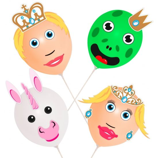 4 stuks ballonnen prins en prinses op plastic stok.