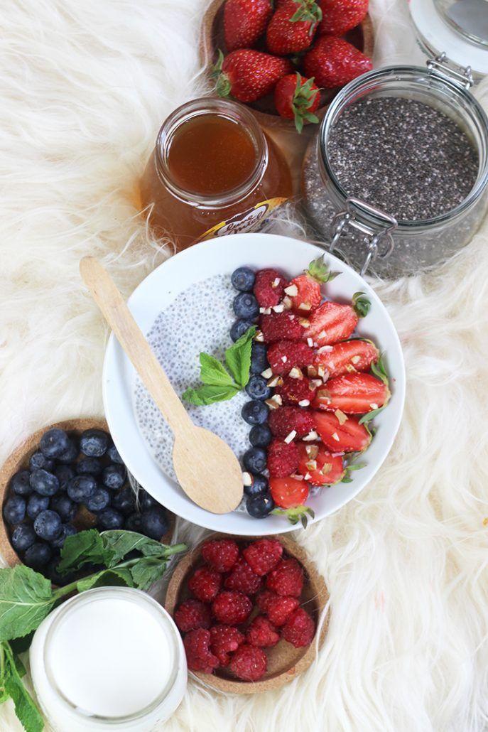 Car même si ce n'est pas vraiment l'été avec la météo ça peut l'être dans notre assiette ! A commencer par le petit déjeuner ! Plus vraiment envie de petit-dej' chaud mais de plutôt de fraîcheur ? J'ai la solution avec un délicieux pudding accompagné de fruits de saison. Cette recette remplace mon porridge chaud …