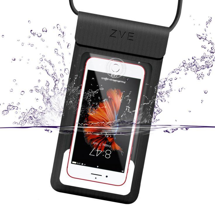 完全防水ケース IPX8規格 指紋認証対応 スマホ 防水ポーチ iPhone SE/5/5s/6/6s /Plus/7/7 plus Sony/Samsung/Huaweiなど6インチ以下全機種対応 高感度タッチスクリーン お風呂 温泉 潜水 ネックストラップ付(ブラック)