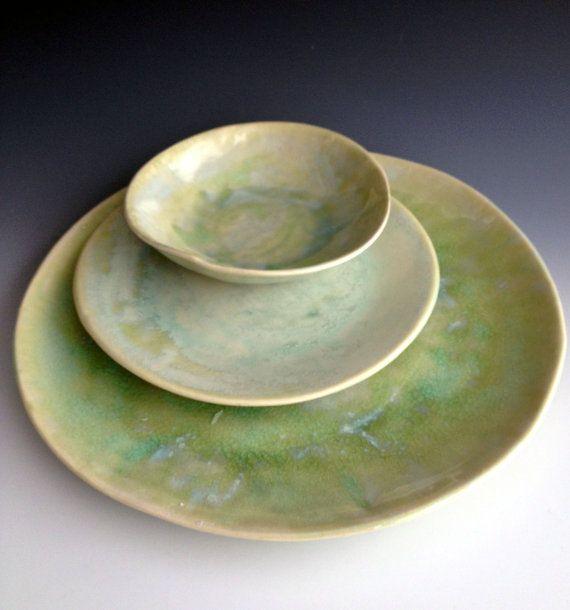 Handmade organic light aquas crackle place setting, slab dinner plate, side plate and dessert bowl by Leslie Freeman
