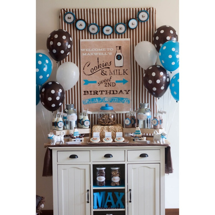 Vintage Milk and Cookies Birthday Party - Blue - Printables Collection