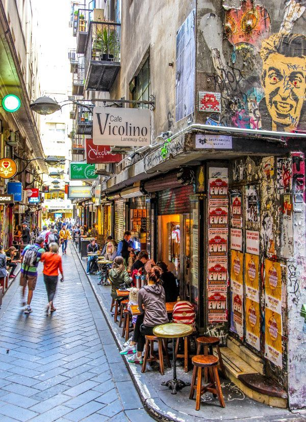 Melbourne Laneways are great for coffee and street art.
