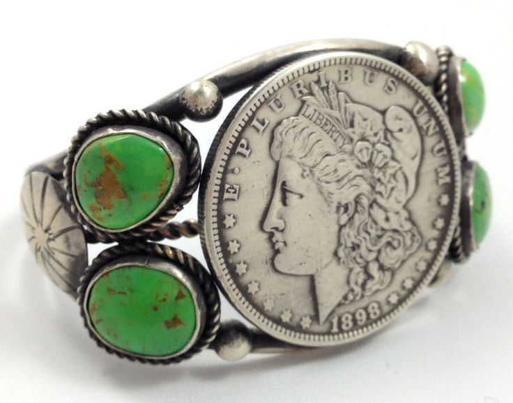 Navajo sterling silver morgan silver dollar bracelet w for Dollar jewelry and more