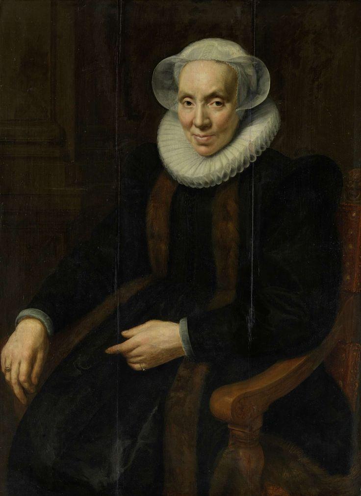 Portret van Maria van Utrecht (c. 1552/53-1629), echtgenote van Johan van Oldenbarnevelt, Paulus Moreelse, 1615