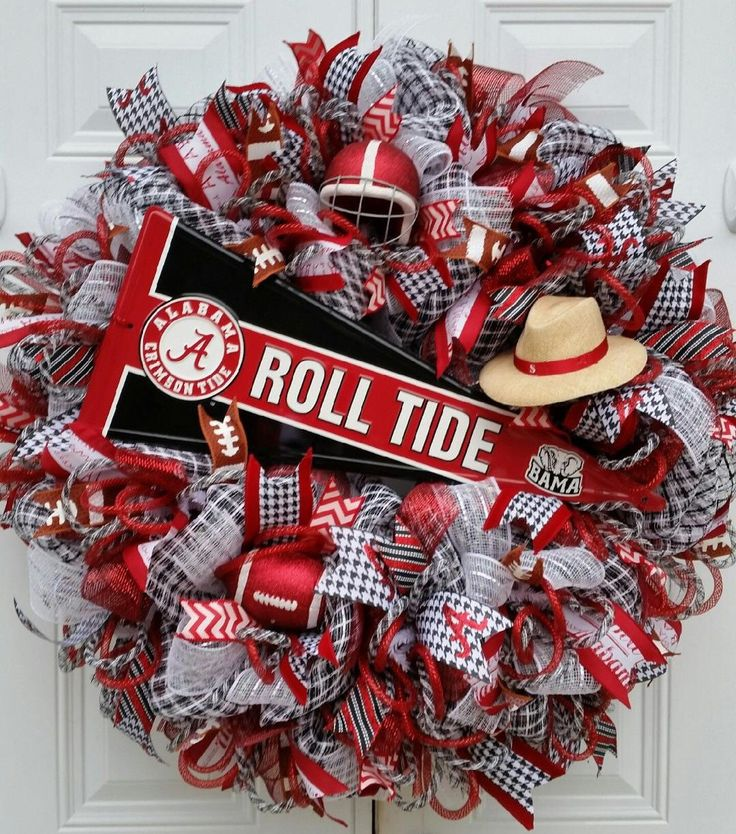 XX Large Alabama Football Wreath-Mesh Collegiate Wreath-Roll Tide Wreath-Alabama Door Wreath- Sports Wreath-Gift-Home Decor-Crimson & White by StudioWhimsybyBabs on Etsy https://www.etsy.com/listing/262510854/xx-large-alabama-football-wreath-mesh