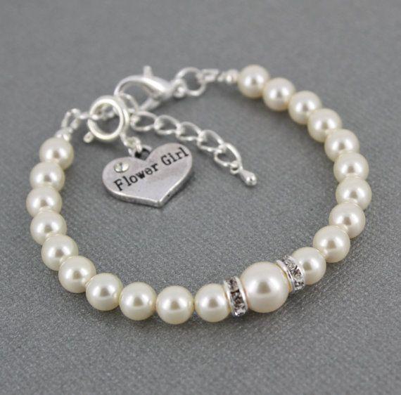 Flower Girl Bracelet White Pearl Bracelet by dcjoaillerie on Etsy