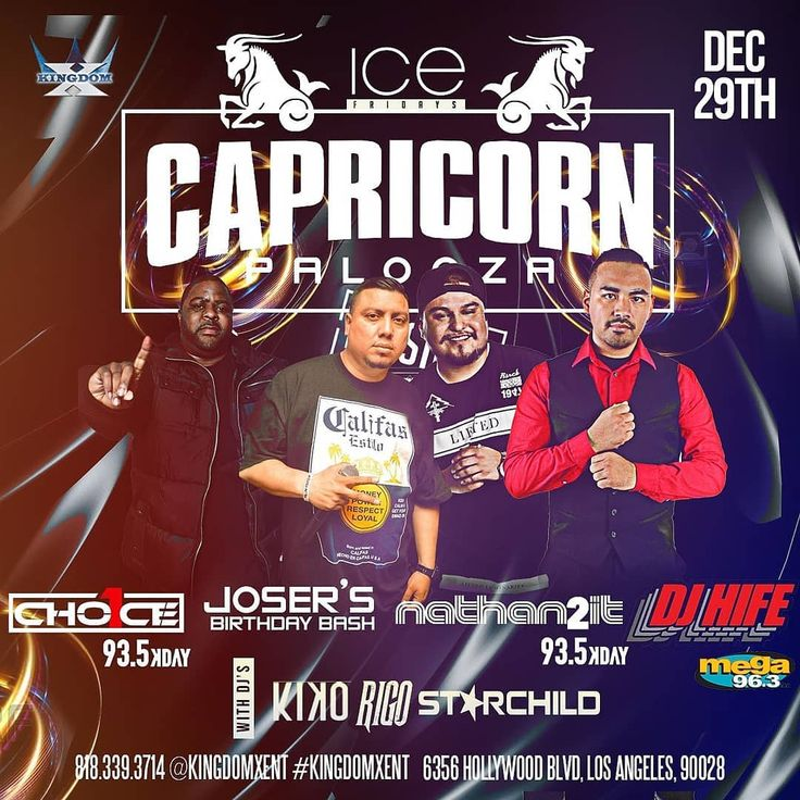 This Friday December 29th come join us for our last Friday of the year for #CapricornPalooza for @joser_kingdomxent bday bash at #IceFridays inside The Study in Hollywood  Special Guest Dj: @djhife frm Mega 96.3 @djchoiceone frm Kday 93.5 @naythan2it frm Kday 93.5  Birthday Celebration for: -KeyHenny Dj Choice One Timmesha Naythan2it Kimberlyand more  Hosted By: -Miss Sky Jazzy Alma Maria Jazz  Drink Specials thru the night -$200 Ciroc b4 11 -2 Bottles of 500 plus tax and tip -$2 Tacos and…
