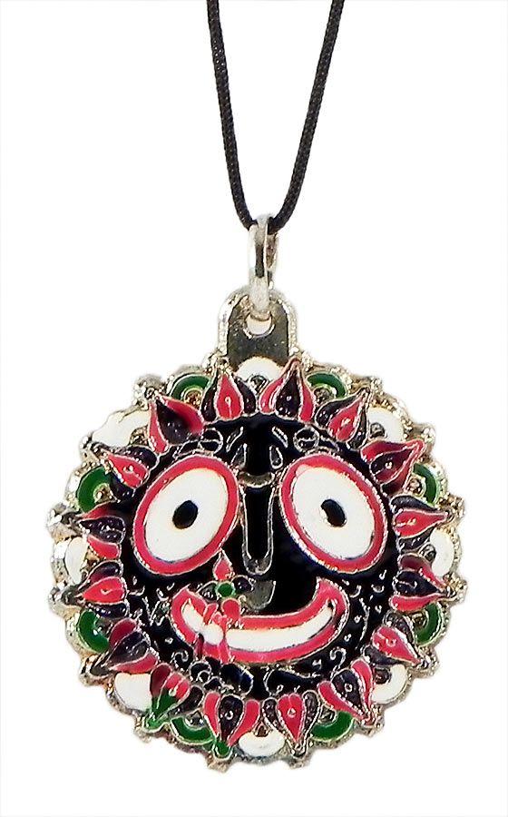 Jagannathdev Pendant with Black Cord (Metal)