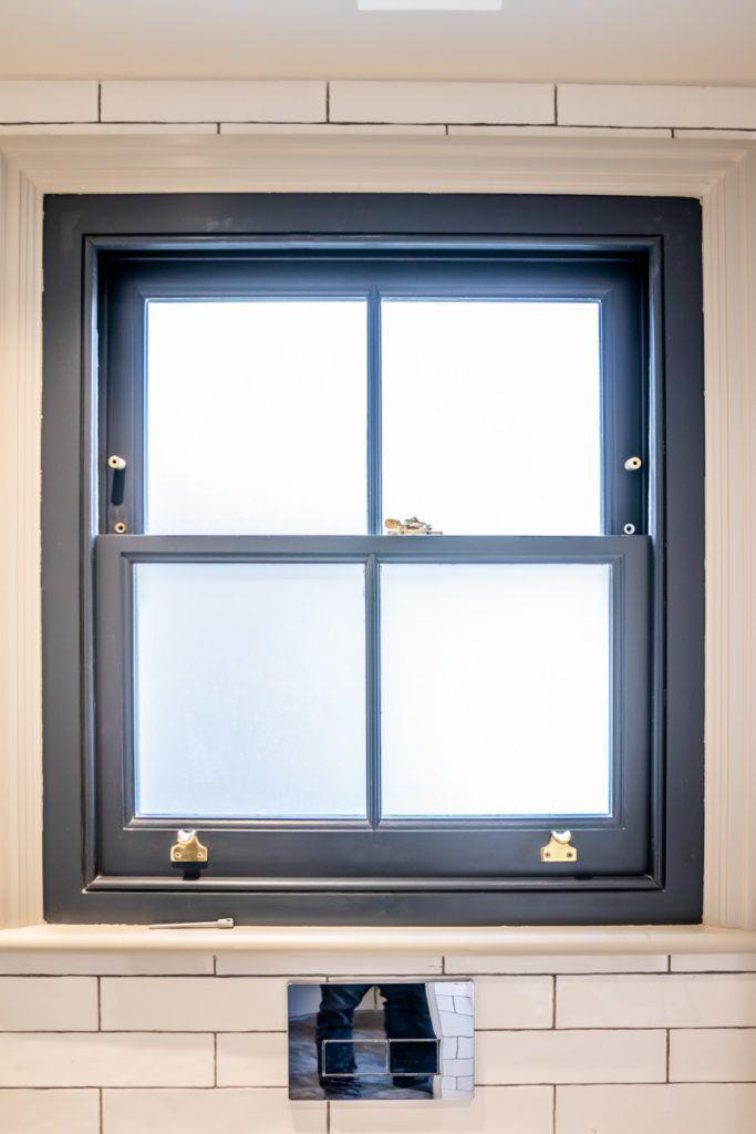 Blue Sash Window With Brass Ironmongery Sash Windows Bathroom Window Glass Double Glazed Sash Windows