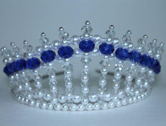 Safire Blue Crystal Pearl and Crystal AB Princess Tiara Diva Tiara Birthday Tiara