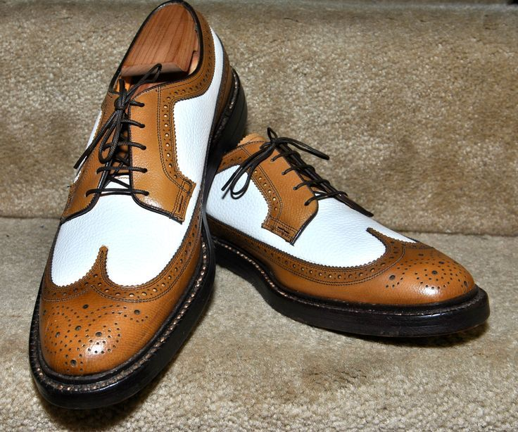 NOS Ultra-Rare Florsheim Imperial Kenmoor Camel/White Calf Spectators Mens  Dress Shoes
