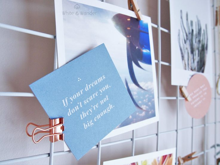 DIY mood board with inspirational quotes and travel photo's.