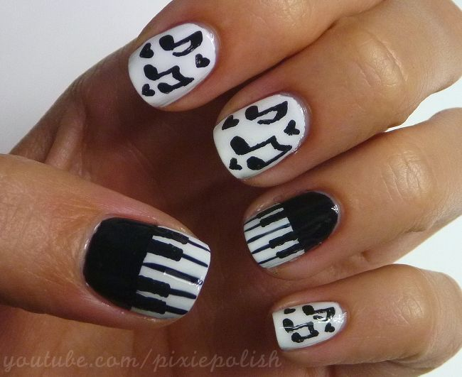 Piano and Notes Nail Art by PixieAmor.deviantart.com