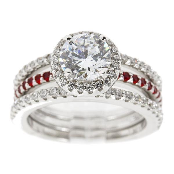 Three Ring Thin Red Line Engagement Set