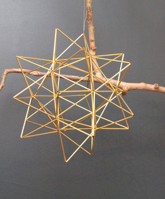 Brass Pollen ball mobile - finnish himmeli sculpture