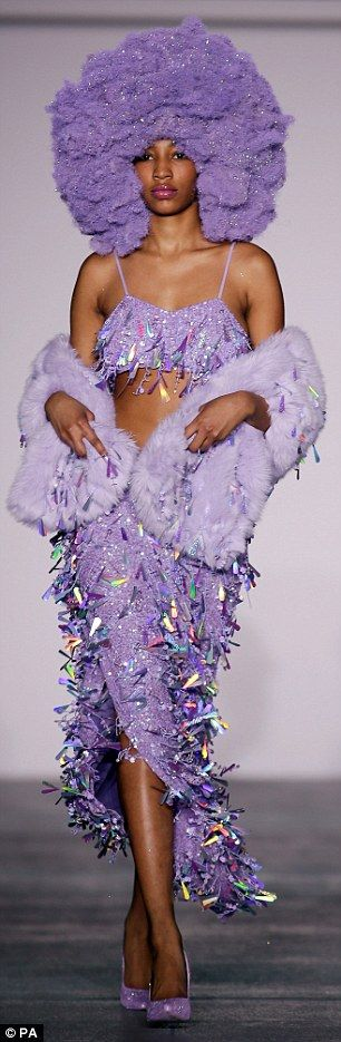 Rainbow-coloured afros and sequins ruled the runway at the dazzling Ashish London Fashion Week show