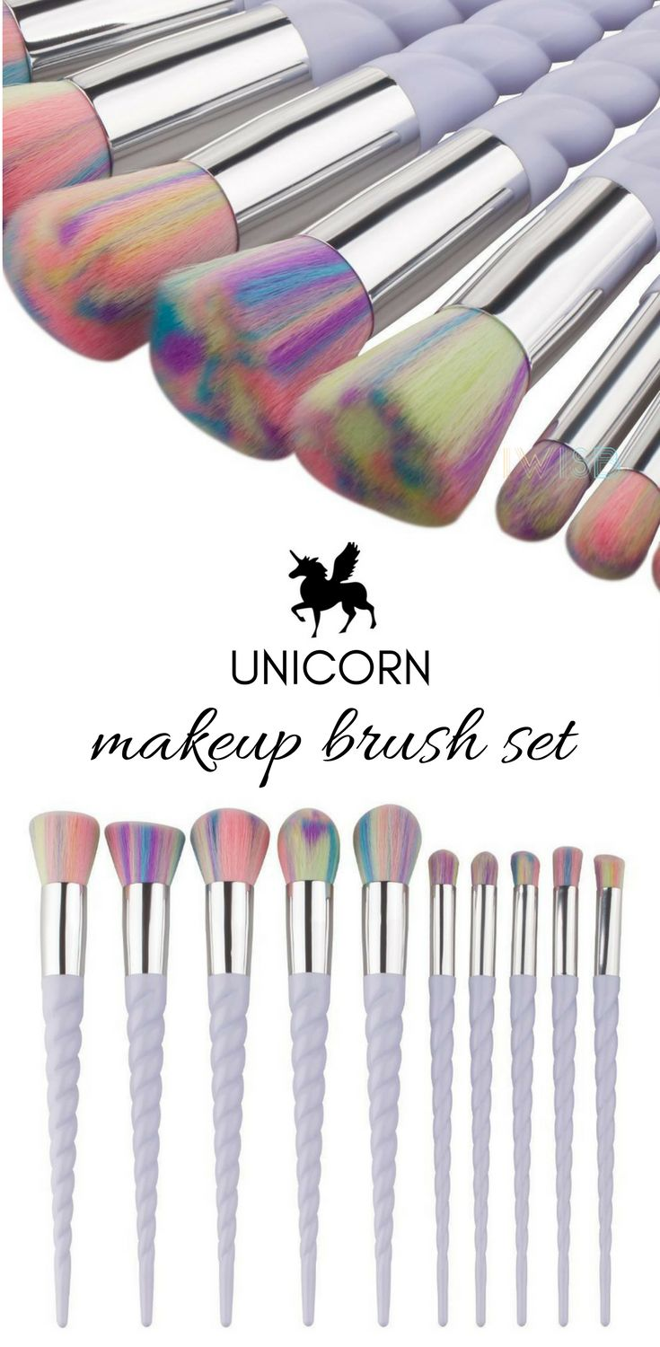 A magical brush set with pearlescent, twisted handles and pastel, multi-colored bristles designed for all your blending and buffing needs. This professional 10-piece set is both delightful and practical. Lovingly crafted with delicate, unicorn inspired handles and plush rainbow hued bristles, the ten piece brush set features a tool for all your eye and base perfecting needs.