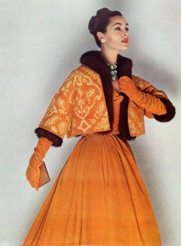 1958 - Christian Dior Evening ensemble Bolero doubled by Mink, by Philippe Pottier, Bianchini Férier fabric