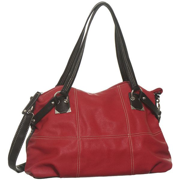 "Purse Boutique: Red Large ""Zuma"" Crossbody Satchel, Purses ($50) ❤ liked on Polyvore"