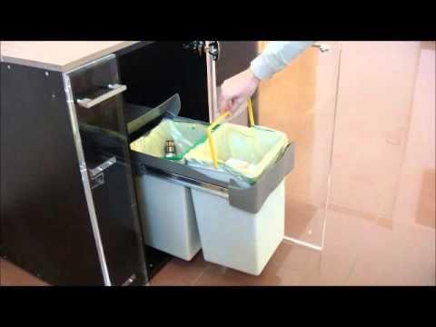 Cubo de basura rectangular extraíble para reciclaje residuos (2x14L)