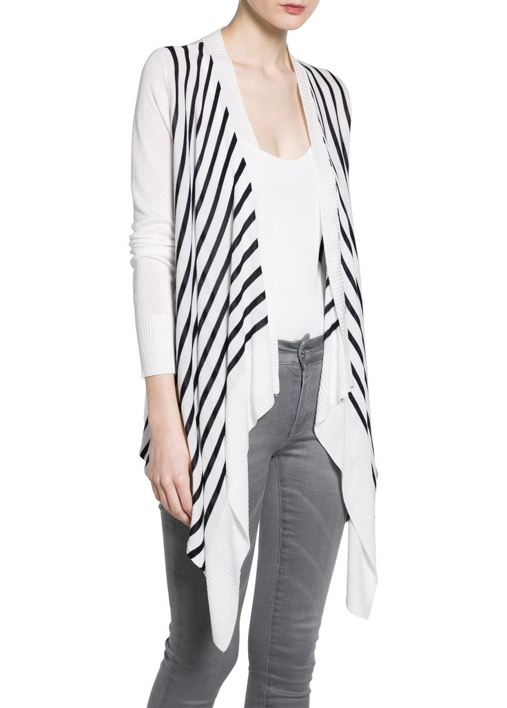 MANGO - Bicolored striped cardigan