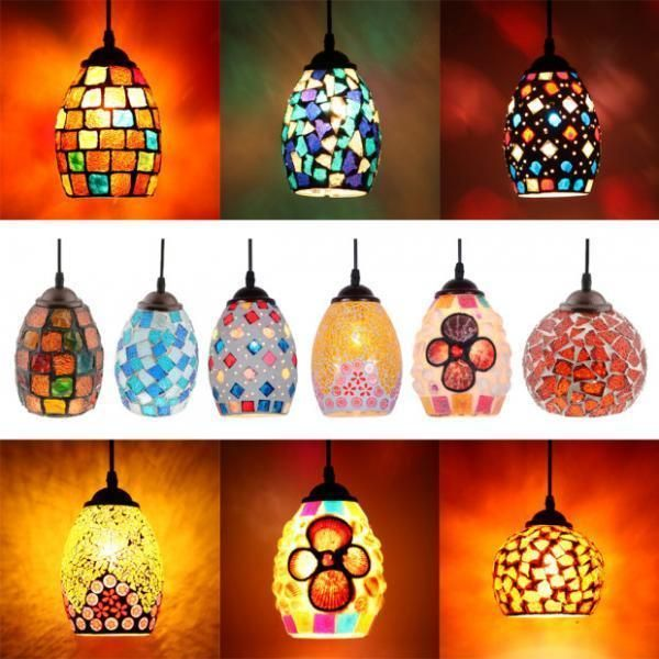 Handmade Moroccan Mosaic Hanging Lanterns - Lamps. #homedecor #moroccanlamps #boho #mosaiclamps *aff*