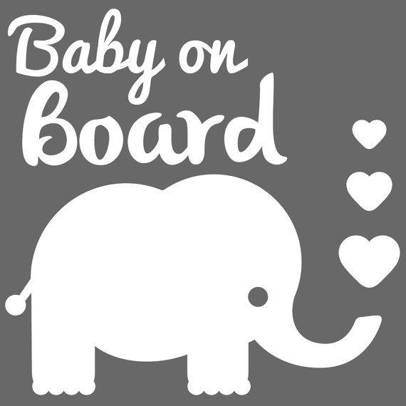 Baby Elephant On Board Sticker Car Decal Car Sticker By