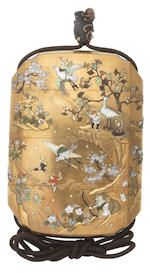 A gold-lacquer Shibayama-inlaid three-case inro  By Meiseki, Meiji era (1868-1912), late 19th/early 20th century