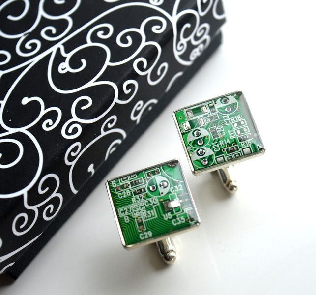 Cufflinks – Cufflinks from greenCircuit board – a unique product by creative-designer on DaWanda