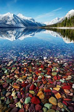 A pebble shore line at Kintla Lake, Glacier National Park, Montana