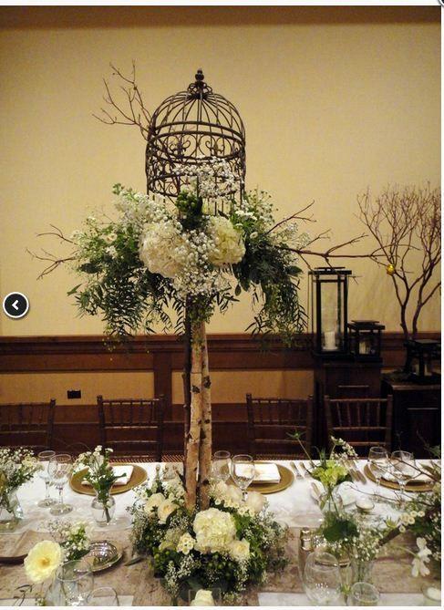 Tall birdcage centerpiece wededing diy rustic vintage