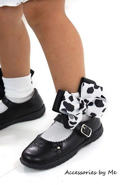 Black White Cow Spots Bows White Socks Boutique Portrait Pageant Occasion Party  #AccessoriesbyMe #CowBowSocks
