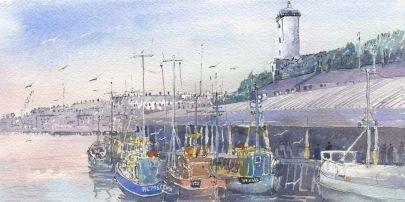 North Shields Fish Quay dates back to the 13th Century and has a fascinating history. In 1225 a village of shielings (fisherman's huts) developed where the Fish Quay stands today. North Shields took it's name from the shielings and the fact it stands on the north bank of the River Tyne.     Open edition paper Giclee print on Breathing Colour Elegance Velvet Paper 310gsm mounted on white core snow white mount board    Print size: 14 x 28cm