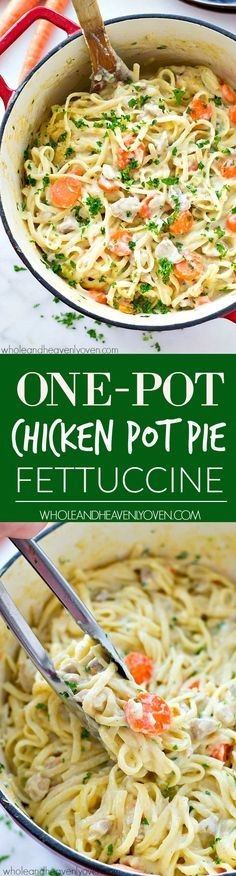 Unbelievably creamy fettuccine that tastes like chicken pot pie in pasta form! Made in one pot and ready for the dinner table in only 35 minutes.