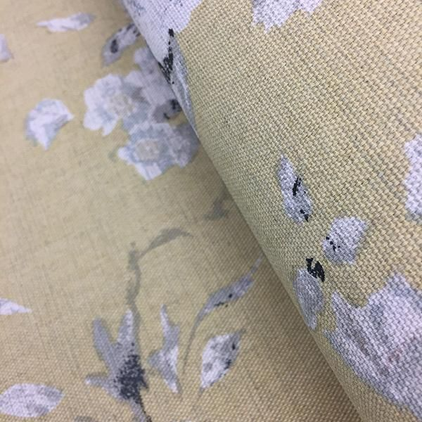 Beautiful classical floral on heavy weight linen background in Emma - Jaune.