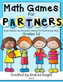 Math Games for Partners: Reproducible and Reusable Games for Reinforcing Skills {Grades 1-2} ... 26 games in all... great for math workshop, math centers, or as fun homework with a family member. All games are provided in black and white and require common primary math manipulatives, such as counters, dice, and snap cubes. (59 pages, $)