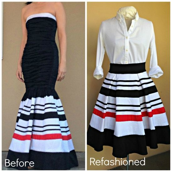 Recycle a thrift store prom dress into a pleated skirt                                                                                                                                                                                 More