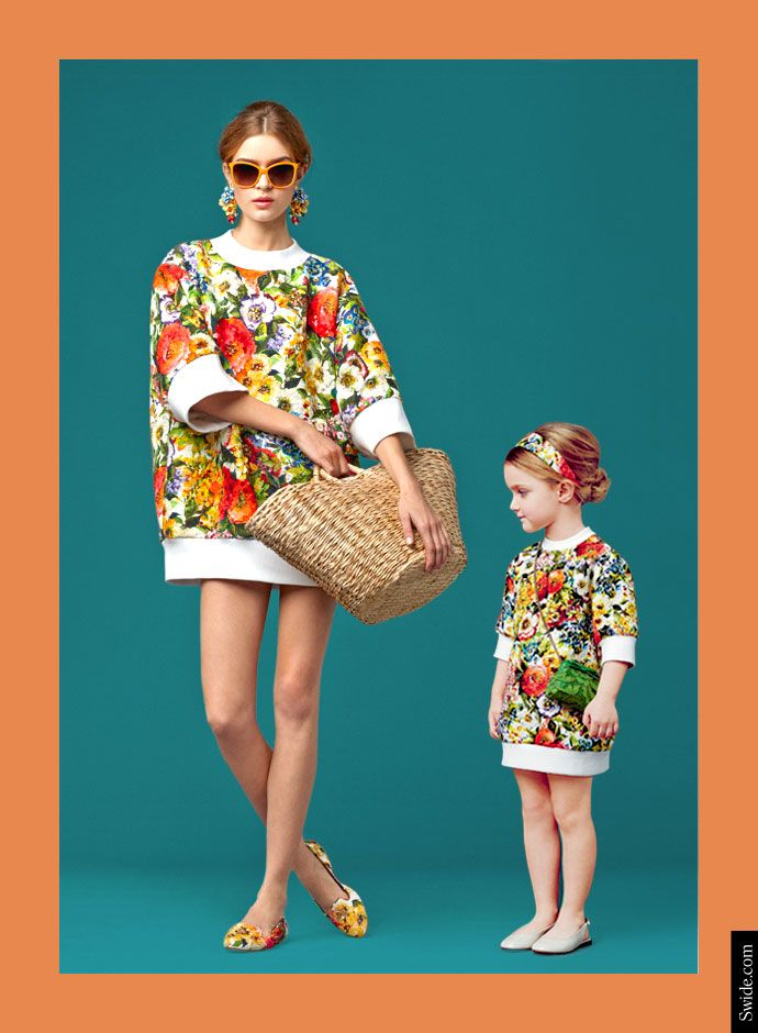 Dolce and Gabbana Fall Winter 2014-15 Mother and Daughter matching dresses ideas: Bouquet Print Top