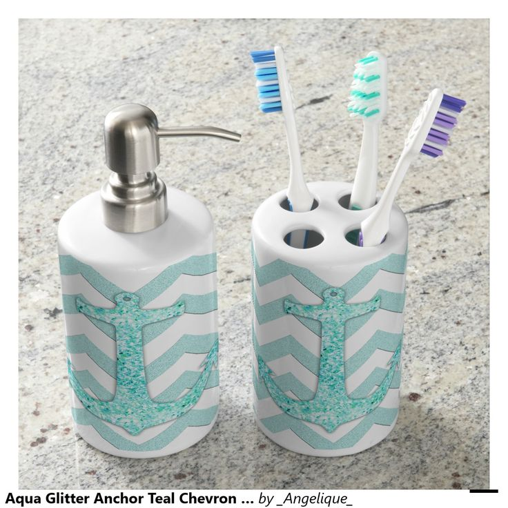 Aqua Glitter Anchor Teal Chevron Pattern Soap Dispenser And Toothbrush Holder BathroomBathroom SetsKid